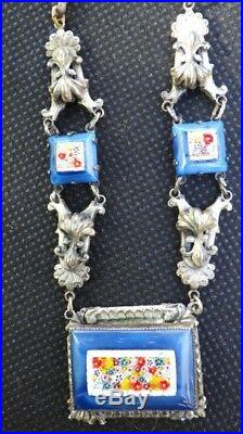 Vintage Czech Lapis Glass Micro Mosaic stone set Necklace -max neiger