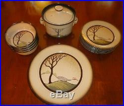 Vintage Denby Art Nouveau'Savoy' 21 pc Stoneware Plates Bowls Dinnerware Set