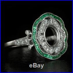 Vintage Diamond Emerald Halo Engagement Ring Setting Oval Semi Mount Art Nouveau
