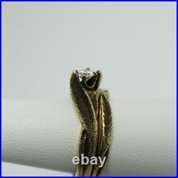 Vintage Diamond Solitaire Wedding Set 14K Gold Feather Art Nouveau