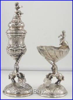 Vintage Friedrich Reusswig 800 Silver Pepper Open Salt Set of 2 Unicorn Cherub