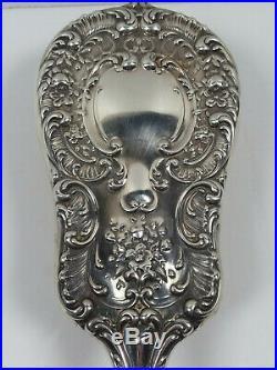 Vintage Gorham Sterling Silver Round Hand Mirror and Brush #23 Vanity Set