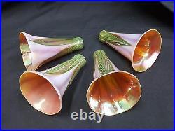 Vintage Lundberg Studios Magnolia Lily Glass Lamp Shade Globes Set of 4
