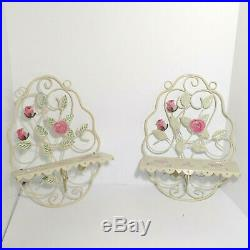 Vintage Metal Wall Shelf withCelluloid Pink Roses Set of 2 Cream / Ivory Scroll