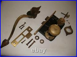 Vintage Mortise Lock Set Art Nouveau Brass Door Handle Thumb Latch Lockwood