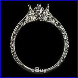 Vintage Platinum Engagement Ring Setting Art Nouveau Round Solitaire Engraved