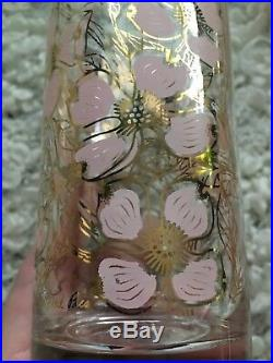 Vintage Set Of 6 Fred Press Pink Gold Floral Dogwood Nouveau Mid Century Glass