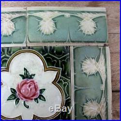Vintage Set of Rose Flower & 6 Border Design Art Nouveau Majolica Tiles ENGLAND