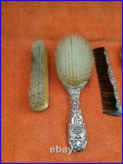 Vintage Sterling Silver Hallmarked Vanity Set, Brushes, Comb & Mirror 1982