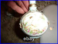 Vintage Vanity Set 6 Items Ardalt Cherub Theme Lenwile China Blue Gold-signed-WO