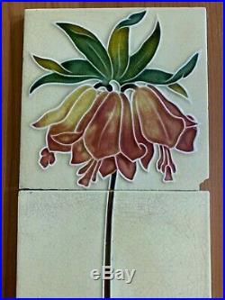 Vintage rare floral set antique art nouveau majolica tile 5pcs 6x6 Inch England