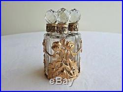 Vintage set gilt bronze & glass 4 bottles Perfume-Liquor Art Nouveau Unique