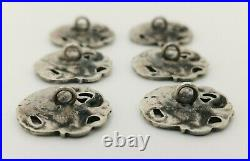 Vtg 1973 Solid Sterling Silver Set of 6 Art Nouveau Style Lady Girl Swan Buttons