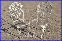 Vtg Lyon-Shaw Windflower Lattice Woodard Style Wrought Iron Garden Dining Set