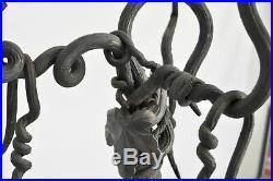 Vtg Mid Century Art Nouveau Tree Vine Bronze Wrought Iron Fireplace Tools Set