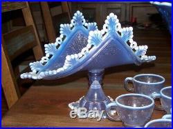 WESTMORELAND Lavender / Purple Opalescent, Doric Open Lace Punch Bowl Set