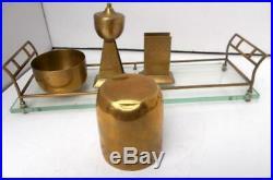 WMF 5 Piece Brass Secessionist Bauhaus Jugenstil Hoffman Smoking Set
