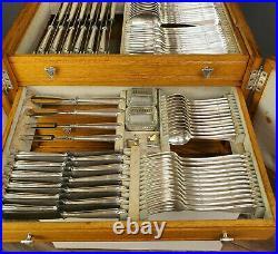 WMF Art Nouveau 1911 Cutlery 99 pcs. Model 200 Kreuzband Louis XVI in Oak Case