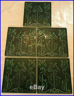 WOW! Stunning Set Lot 5 Original Antique Art Nouveau Tiles 6x6 NOS Majolica EXC