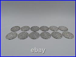 Webster Coasters Set 12 Antique Art Nouveau American Glass & Silver Overlay