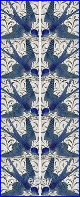 William De Morgan Swallows Fireplace Tiles Set (10 Tiles)